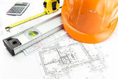 Architectural blueprints and work tool — Stock Photo