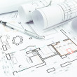 Home construction plans and pencil — Stock Photo