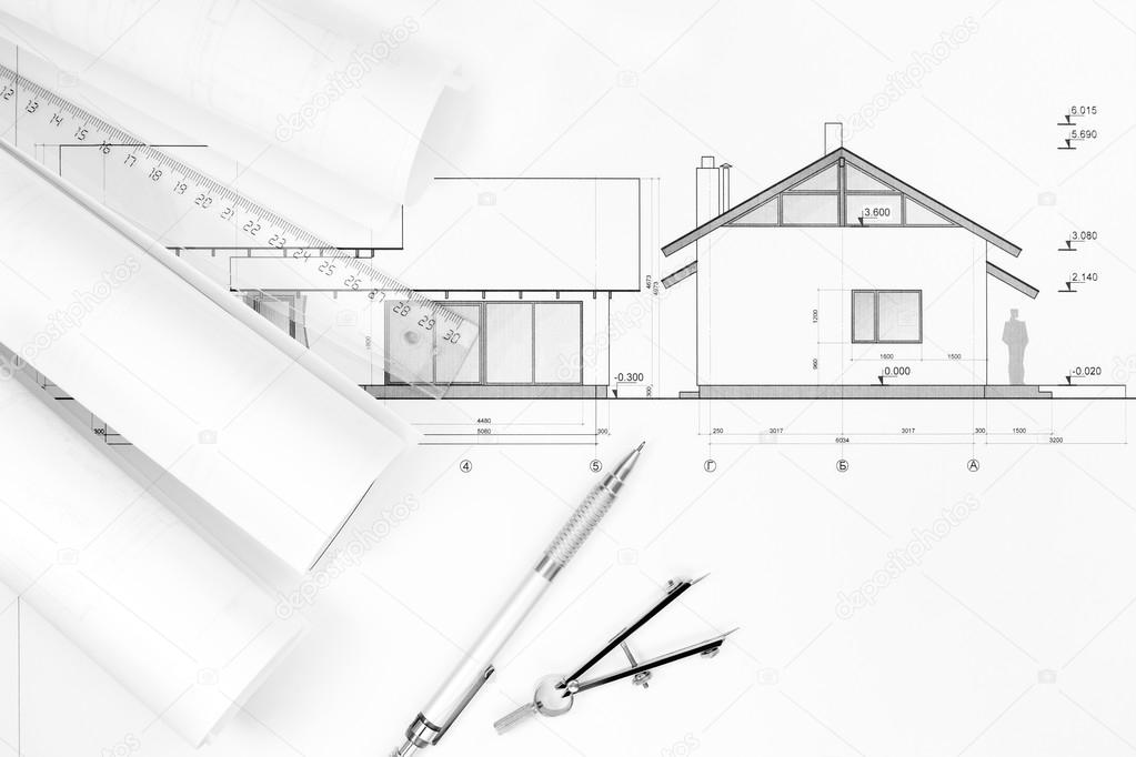 Plans d 39 architecture et des instruments dessin for Plan d architecture