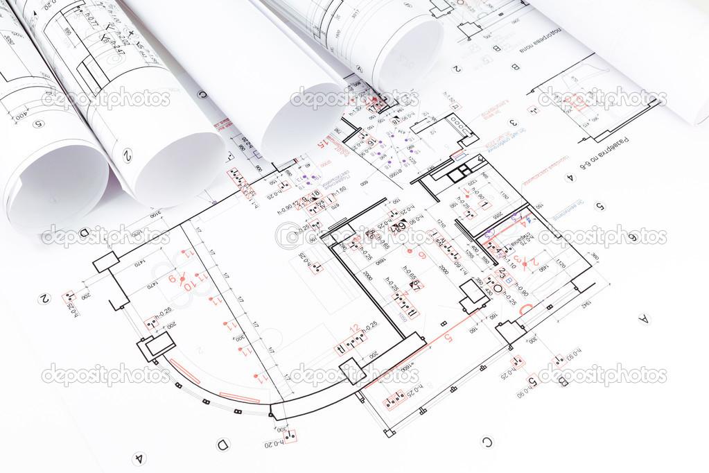Rollos de planos arquitect nicos fotos de stock for Planos tecnicos arquitectonicos