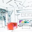 Lliving room watercolor drawing — Stock Photo