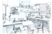 House sketch with pencil — Stock Photo