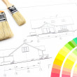 Palette of colors, blueprint and brushes — Stock Photo #44501997