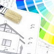 Home drawing with palette of colors — Stock Photo #44502243