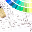Brush for paint over house plan on background — Stock Photo #44502307
