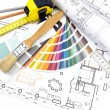 Architect's work tools on blueprints background — Stock Photo #44502551