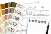 Architectural drawing with notepad and color samles — Foto Stock