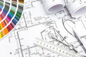 Architectural planning of interiors design — Stock Photo