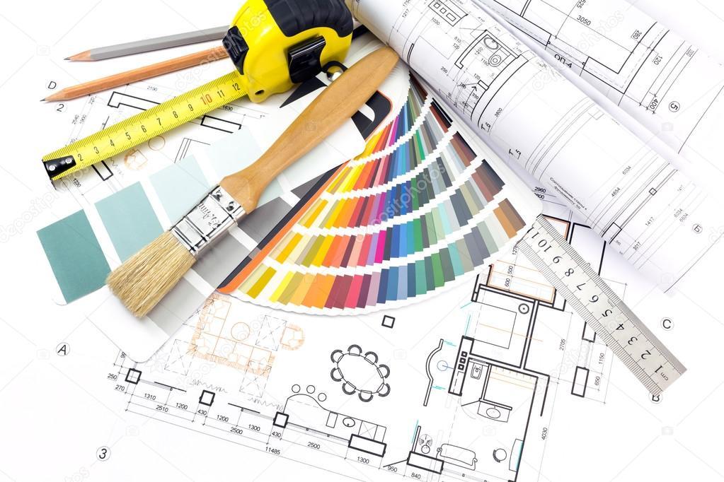 Outils de travail de larchitecte sur fond de plans for Outils architecte