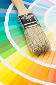 Color samples and brush — Foto Stock