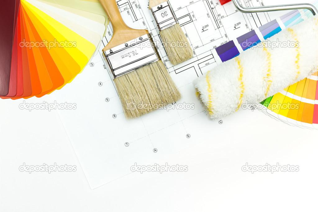 outils de travail du peintre en b timent photo 44939831. Black Bedroom Furniture Sets. Home Design Ideas