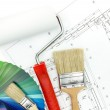 Paint roller, brushes and color samples — Stock Photo
