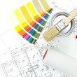 Color swatches, brush, paint pot, paint roller and plans — Stock Photo