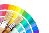 Stopy pro malování přes katalog samles barva — Stock fotografie