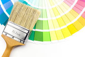 Kolorowe próbki i Pędzel — Zdjęcie stockowe