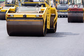 Steamroller at road repairing works — Stock Photo