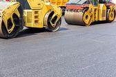 Road rollers in work — Foto de Stock