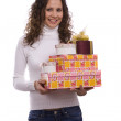 Woman holding gift box for Christmas — Stock Photo #1144843
