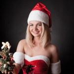 Santa meisje met kerstboom — Stockfoto