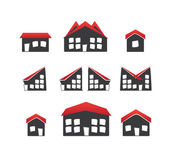 Set of 6 houses icons variations — Stock Vector