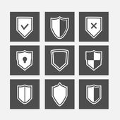 Shield flat icons set — Stock Vector