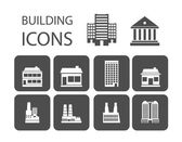 Edificio iconos — Vector de stock
