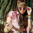 Stock Photo: Hippie girl with guitar
