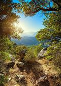 Pôr do sol nas montanhas — Fotografia Stock