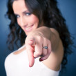 Smiling pointing woman — Stock Photo #1195188