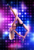 Young pole dance woman — Stok fotoğraf