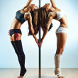 Stock Photo: Pole dance women