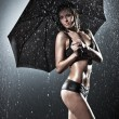 Young sexy woman with umbrella — Stock Photo #19342341