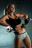 Dumbbells exercises — Stock Photo