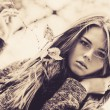 Стоковое фото: Young woman outdoors portrait