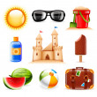 Summer and beach icons — Stock Vector