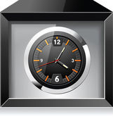 Retro analog clock in black box — Stock Vector