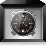 ретро аналоговые часы в черном ящике, подробные векторные — Cтоковый вектор