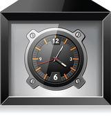 Retro analog clock in black box, detailed vector — Stock Vector