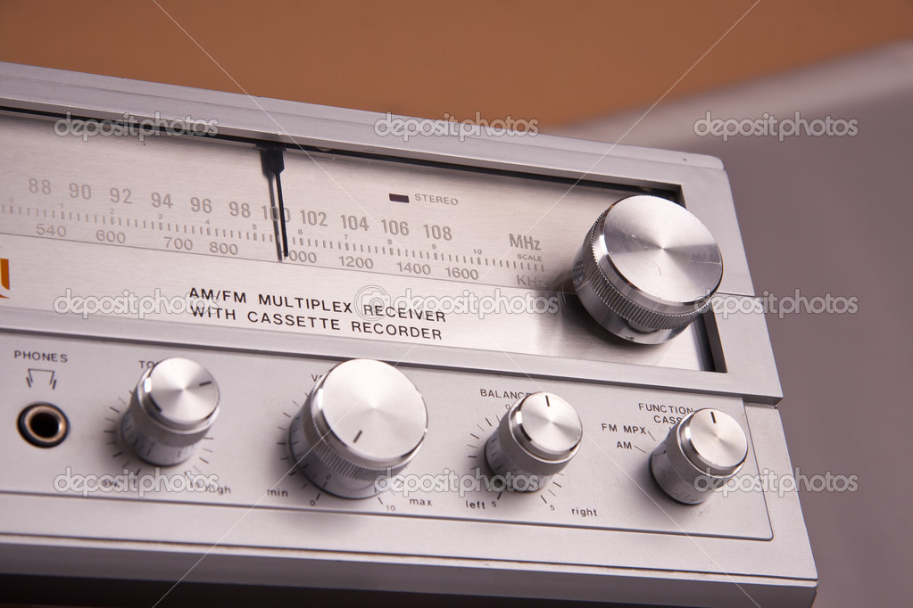 Vintage stereo radio controls closeup  Stock Photo #12701404