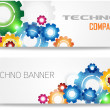 Technology Colorful Gears Banner — Stock Vector