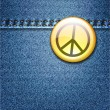 Peace Badge on Denim Fabric Texture Jacket — Stock Vector