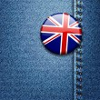 UK British Flag Badge on Denim Fabric Texture — Imagens vectoriais em stock
