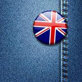 Storbritannien brittiska flaggan emblem på denim tyg textur — Stockvektor