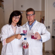 Stock Photo: Scientists perform filtration test