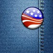 American Flag Badge On Jeans Denim - Stock Vector