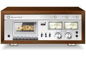 ビンテージ hi-fi アナログ ステレオ カセット テープ デッキ レコーダー プレーヤー v — ストックベクタ