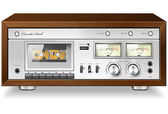 Vintage HI-Fi analog stereo cassette tape deck recorder player v — Vector de stock