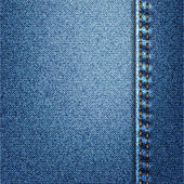 Blue Jeans Denim Fabric Texture With Stitch — Stock Photo