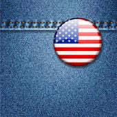 Distintivo di bandiera usa colorato luminoso sulla trama del tessuto denim — Vettoriale Stock