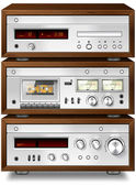 Music Stereo Audio Compact Cassette Deck with Amplifier and CD p — Stock Photo
